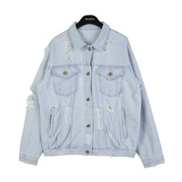 Distressed Light Blue Denim Jacket by Stylenanda