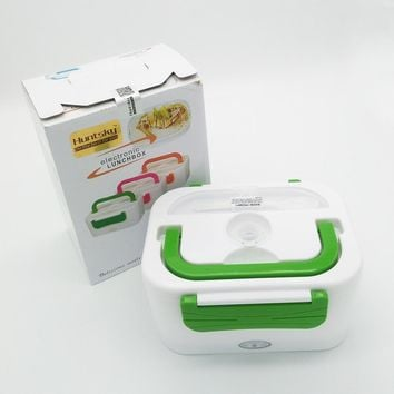 220V/110V/12V Portable Car Plug Heated Lunch Box Compact Electric Heated Lunch Food Warmer Box Bento Food Container 1050ML