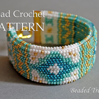 "Pattern for bead crochet bracelet ""Mediterranean Breeze"" / Bead crochet pattern / Bracelet tutorial / Beaded bracelet /PATTERN ONLY"