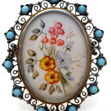 Antique Hand Painted Floral Brooch Pendant 800 Silver