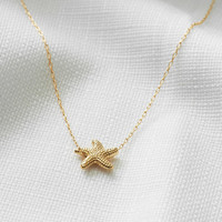 Gold necklace, Gold starfish necklace, Gold filled necklace, Summer necklace, Beach jewelry, Everyday necklace, Simple gold jewelry