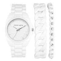 Women's Anne Klein Silicone Bracelet Watch Set, 36mm