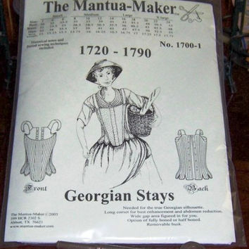 Georgian Corset Pattern: Multi Sized Stays Sewing Pattern for 1720 - 1790 - 1700-1