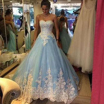Vestido De Festa Custom Made Blue Prom Dresses For Women 2015 Strapless Appliques Beads Formal Evening Gowns Long Prom Gown New