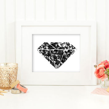 Geometric art, dorm decor, diamond print, black and white grey hexagon art, modern art, office decor blipping room decor, industrial decor