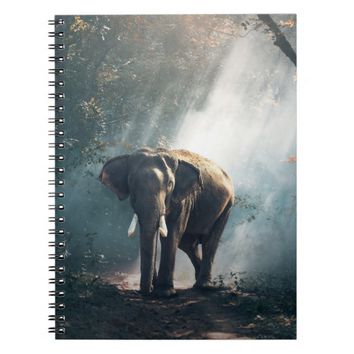 Asian Elephant in a Sunlit Forest Clearing Notebook