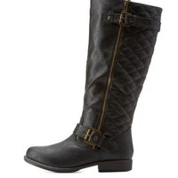 Black Quilted Round Toe Riding Boots by Charlotte Russe