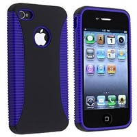 Hybrid Case compatible with Apple® iPhone® 4 AT&T, Blue TPU / Black Plastic