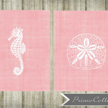 Nursery Wall Art Prints / beach theme / set of 2 / 8x10 inch / pink / seahorse / sandollar / ocean / baby girl / girl's room decor