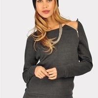 Zip Zip Sweatshirt - Grey at Necessary Clothing