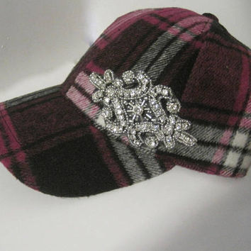 Adorable Plaid Fleece Winter Baseball Trucker Cap with Appliqué Accent Choose Clear or Black Appliqué Winter Hats Baseball Cap Trucker Hats