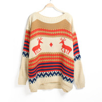 Nordic round neck reindeer pattern sweater- Ships FREE!