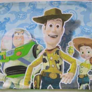 Disney Toy Story Woody Buzz Lightyear Jessie Standard Size Pillow Case Fabric Panel Kids Bedding Kid Girl Boy Craft Clean Gently Used
