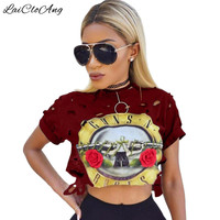 Casual Sexy Hole Female T-Shirt New GUNS N ROSES Print Crop Top T Shirt Cropped Tops Hollow Out Short Sleeve Tee Shirt Women