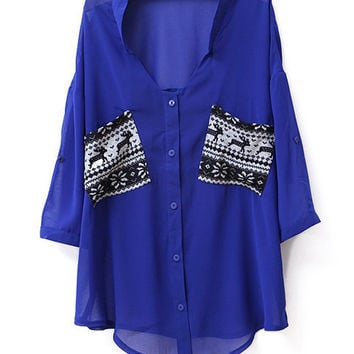 Pockets Color Metching V Neck Chiffon Shirt Blue - Sheinside.com