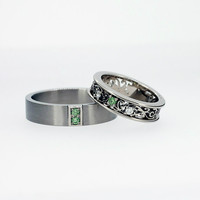 Green diamond wedding ring set, men's palladium wedding band, filigree wedding ring, matching rings, unique ring, white gold, green diamond