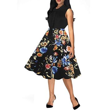 Bow tie Cocktail Swing Dress, Sizes S - 2XL, Black Floral
