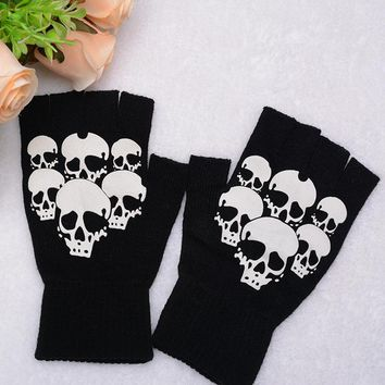 Unisex Warm Printed Skull Fingerless Gloves Knitted