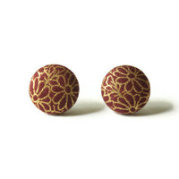 Gold Flower Drawing on Dark Red Maroon Fabric Covered Button Earrings