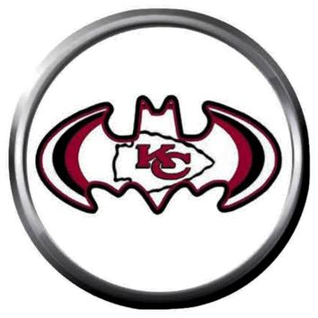 KC Kansas City Chiefs NFL Football Batman Logo 18MM - 20MM Snap Jewelry Charm New Item