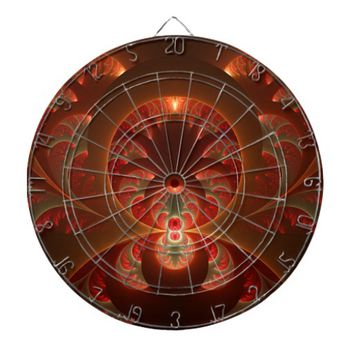 Luminous abstract modern orange red Fractal Dartboards