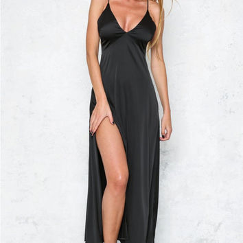 Deep Plunge Spaghetti Strap High Split Maxi Dress