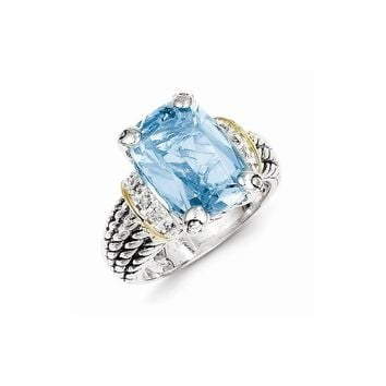 Antique Style Sterling Silver & 14k Gold 8.10 Sky Blue Topaz Ring