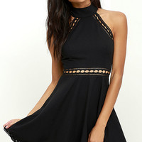 Ease in Manner Black Lace Skater Dress