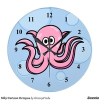 Silly Cartoon Octopus Large Clock