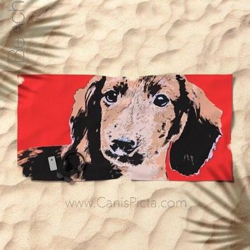 Modern Dachshund Towel Bath Beach Terry Hand Bathroom Decor Gift Unique For Home Wiener Hot Dog Puppy Doxie Tomato Red Longhair Contemporary