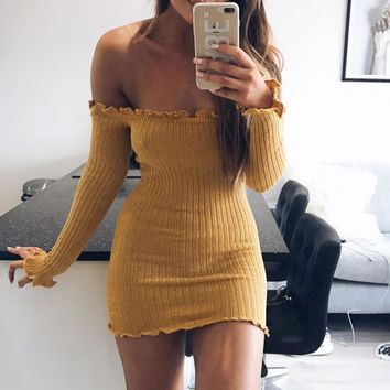 Lace Long Sleeve Sexy One Piece Dress [11813549583]