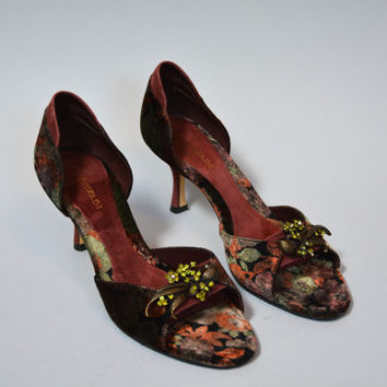 Vintage Etienne Aigner Printed Velvet and Suede Rhinestone D'Orsay Pumps - Sexy High Heel Evening Shoes Size 7 1/2