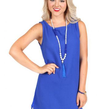 Nothing To Lose Royal Blue Scallop Shift Dress | Monday Dress Boutique