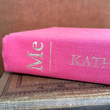 "Pink Book, Katherine Hepburn , ""ME"" by Katherine Hepburn, Hot Pink , Old Photos , Gift for Her"