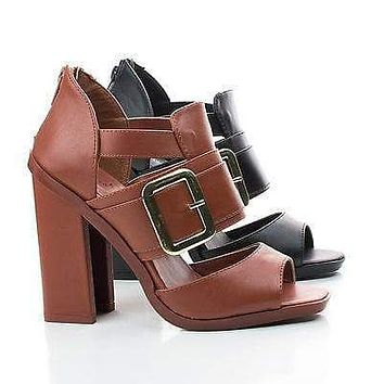Iverson05 By Wild Rose, Peep Toe Strappy Cut Out Block Heel Sandals