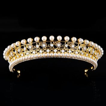 Pearl Bead Crystal Tiara Crown Hair Wedding Accessories Cosplay