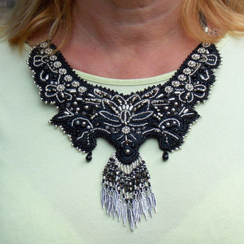 Bead Embroidery ,bead crochet Collar Necklace Unique Fashion Black Silver Platinum