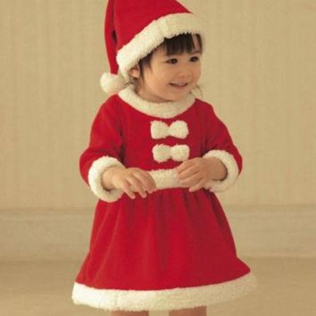 Baby Christmas Outfits Kids Santa Suits And Jumpsuits With Hat Girls Set 130