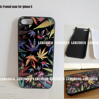 Vintage floral maple leaves Rasta weed kush Cannabis decoration 3G phone case iphone case cover iphone 4 case iphone 4S case iphone 5 case