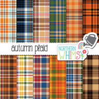 Fall Digital Paper - seamless plaid patterns in brown, green, red, blue & orange - autumn scrapbook paper - printable paper - commercial use
