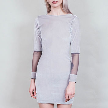 Truant - Silver velvet mini dress with low scoop back and long sleeves