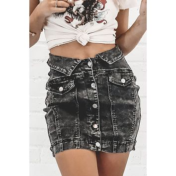 Business In The Front Black Denim Mini Skirt