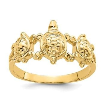 14k Yellow Gold Solid Triple Textured Sea Turtle Ring