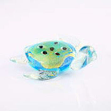 "5"" Blue & Green Glass Turtle"