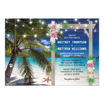 Beach Tropical Arch Summer Wedding Card