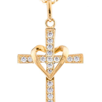 10K Yellow Gold Heart and Cross Pendant Figaro Necklace 18Inch