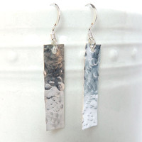 Silver Bar Earrings, Hammered Rectangle Earrings for Women, Contemporary Jewelry, Hammered Bar Earrings