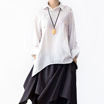 Serenely 2016 Spring Summer Loose Plus Size Original Asymmetry Design Solid Shirt Female Linen Shirt Women Casual Tops