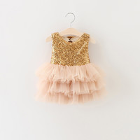 Kids Dresses For Girls 2016 Summer Style Gold Sequins Tutu Event Party Dress For Baby Girls Clothes Bow Formal Dress For Infant