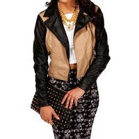 Khaki/Black Faux Leather Jacket